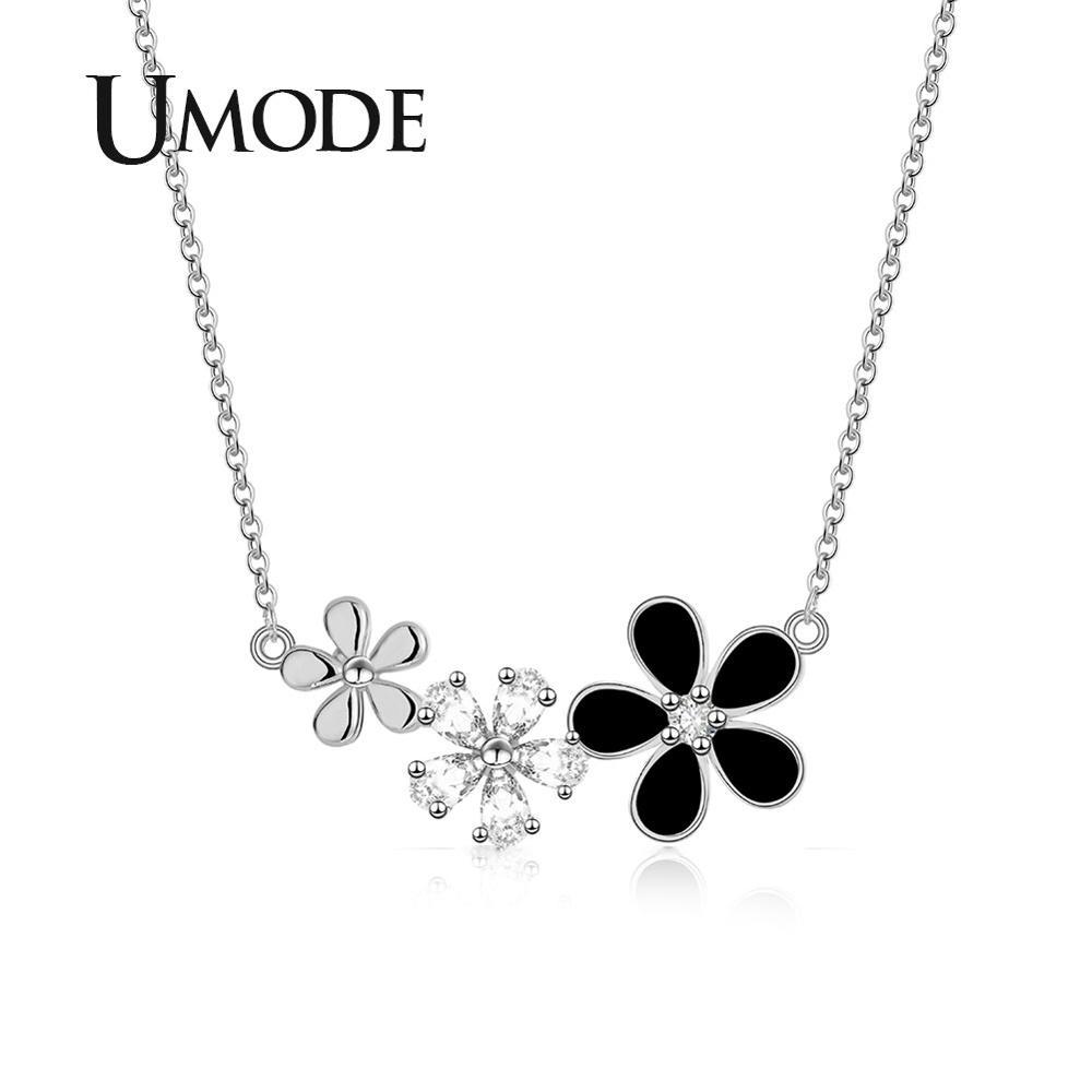 Noir Rose Fleur Long Collier Pendentif Chandail Chaîne Cristal Femmes Bijoux Cadeau