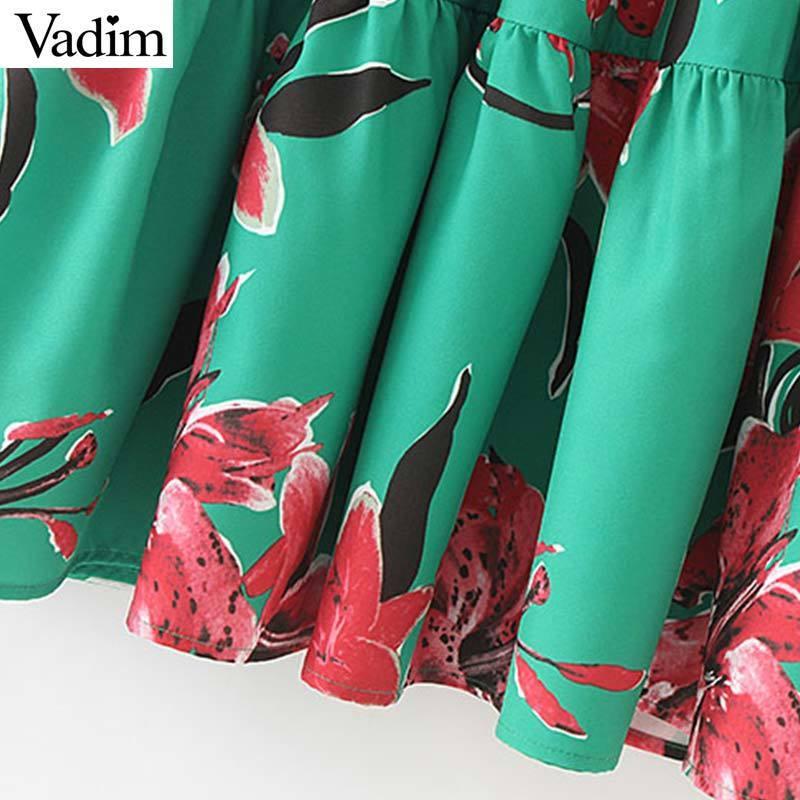 Vadim Women Vintage Floral Print V Neck Midi Dress Sashes Short Flare Sleeve Elegant Mid Calf Dresses Vestido Qb815 Y19071001