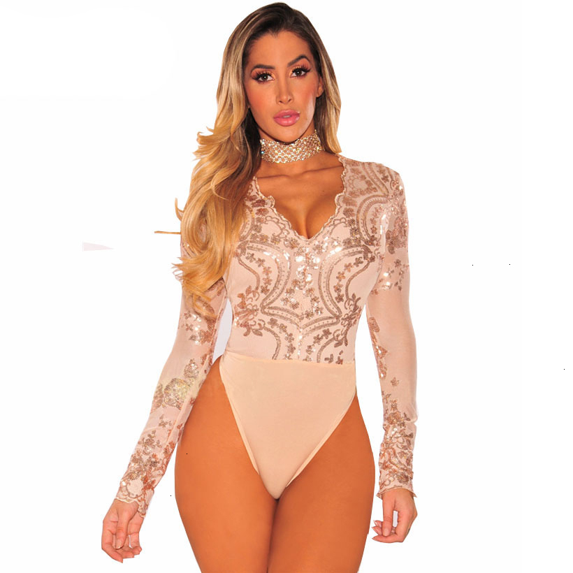IDress Sexy Bodysuit Women Long Sleeve Mesh Bodysuit Beachwear Top V Neck Lace Sequined Bodysuit Rompers Women's Jumpsuit (2)