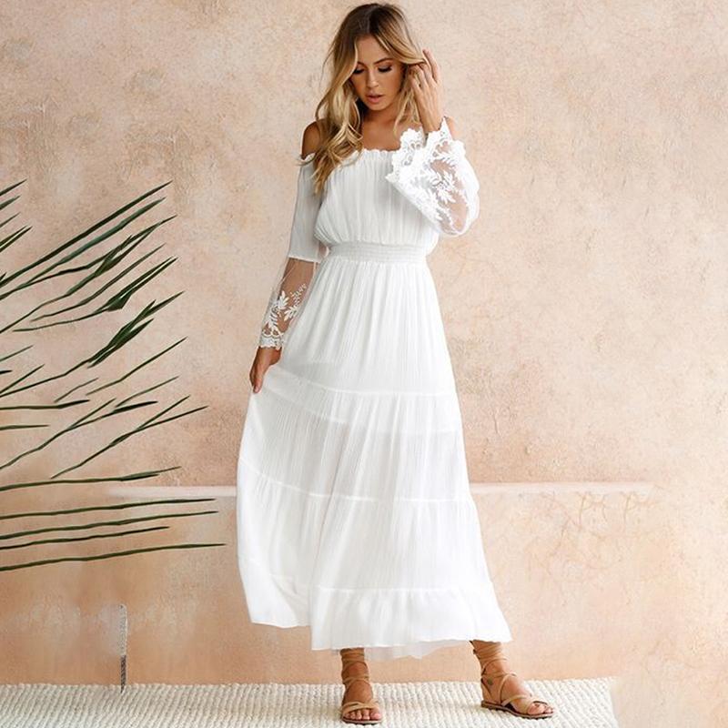 Rabatt Langarm Boho Maxi Kleid Weiss 2020 Langarm Boho Maxi Kleid Weiss Im Angebot Auf De Dhgate Com