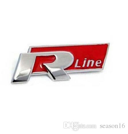 3D Metal Red R-line Logo Racing Front Badge Emblem Sticker Decal Self Adhesive