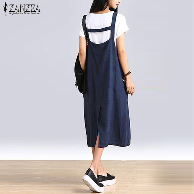 Kaftan Casual Summer Dress Zanzea 2019 Women's Sundress Female Strap Vestidos Plus Size Split Midi Overalls Dresses Linen Robe Y19053001