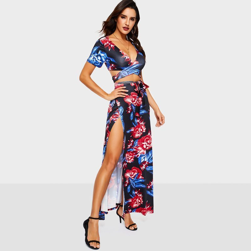 Blue Flower Women Suits Sets Sexy Club Beach Holiday Deep V Crop Tee Top Lace Up Split Maxi Long Skirt Two Piece Suit Set C19041501
