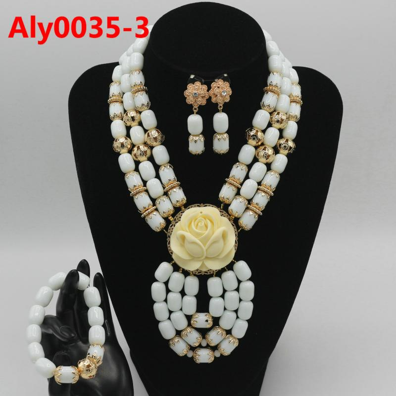 laanc 6 Layer Nigeria Womens Wedding African Lady Beads Necklace Bracelet Earrings Party Jewelry Sets