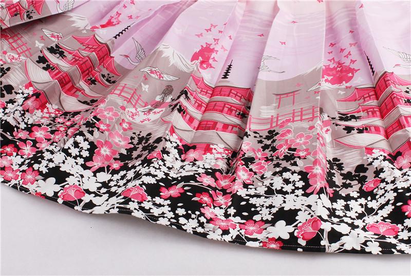 Kostlish Retro Print Flower Summer Skirts Womens High Waist Vintage Skirt Elegant A-Line Midi Women Skirt Plus Size XXL 22 (25)