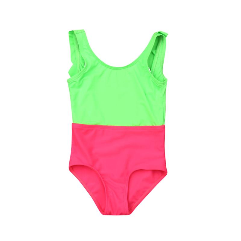 2019 Girls Swimwear Summer Kids Ruffle Backless One Piece Swimwear Bodysuit Child Swimsuit Bathing Suit Beachwear Baby Swim Wear