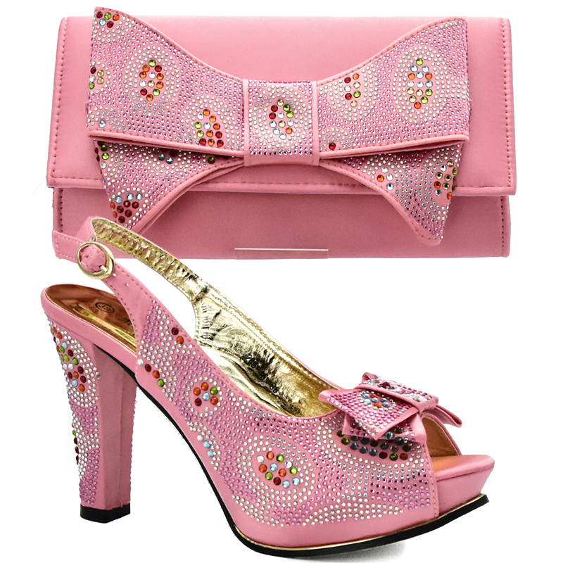 Pink Color African Matching Shoes And Bags Italian In Women Nigerian Shoes And Matching Bags Set High Quality Shoes And Bag Sets