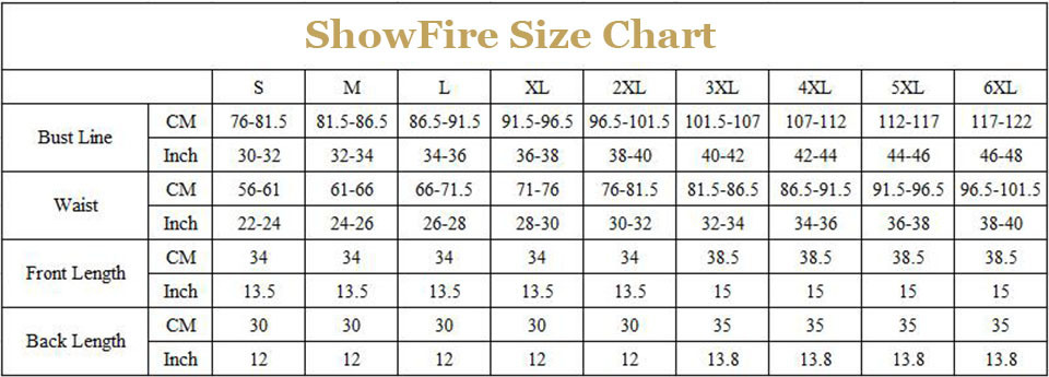 overbust corset size chart