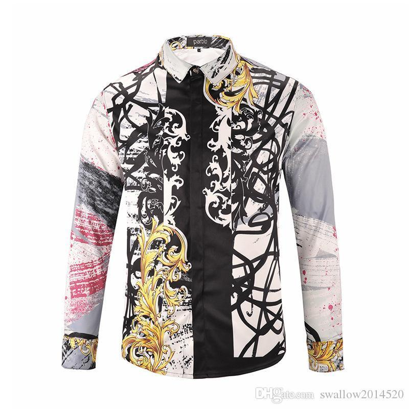 Pop Nice Autumn Winter Harajuku Medusa Gold Chain/Dog Rose Print Shirts Fashion Retro Floral Sweater Men Long Sleeve Tops Shirts
