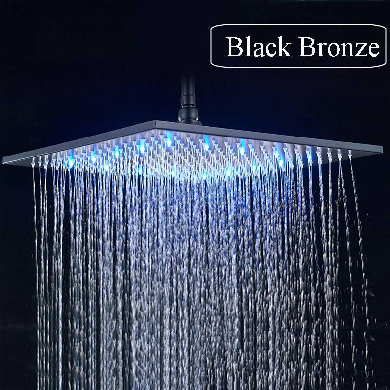 "16/"" LED Rain Shower Head Brushed Nickel Shower Sprayer Top Shower Head Brass NEW"