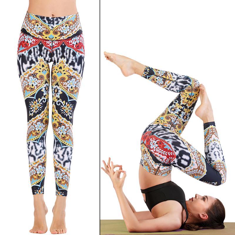Floral Pattern Printing Women Yoga Pants High Waist Fitness Leggings Running Gym Pants Women Colorful Sporting Workout Leggings