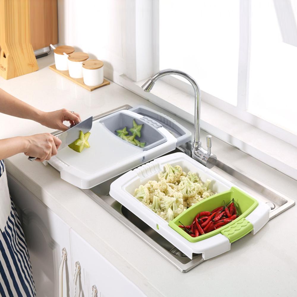 dans un gadget de cuisine multifonctionnel 3 en 1 bacs /à fruits et l/égumes Passoire /Planche /à d/écouper pliante Planche /à d/écouper avec bac /à vaisselle panier de rangement pour l/égumes