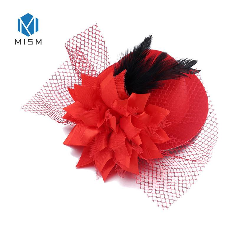 red fascinator french veiling veil hair clip wedding widow funural hat race