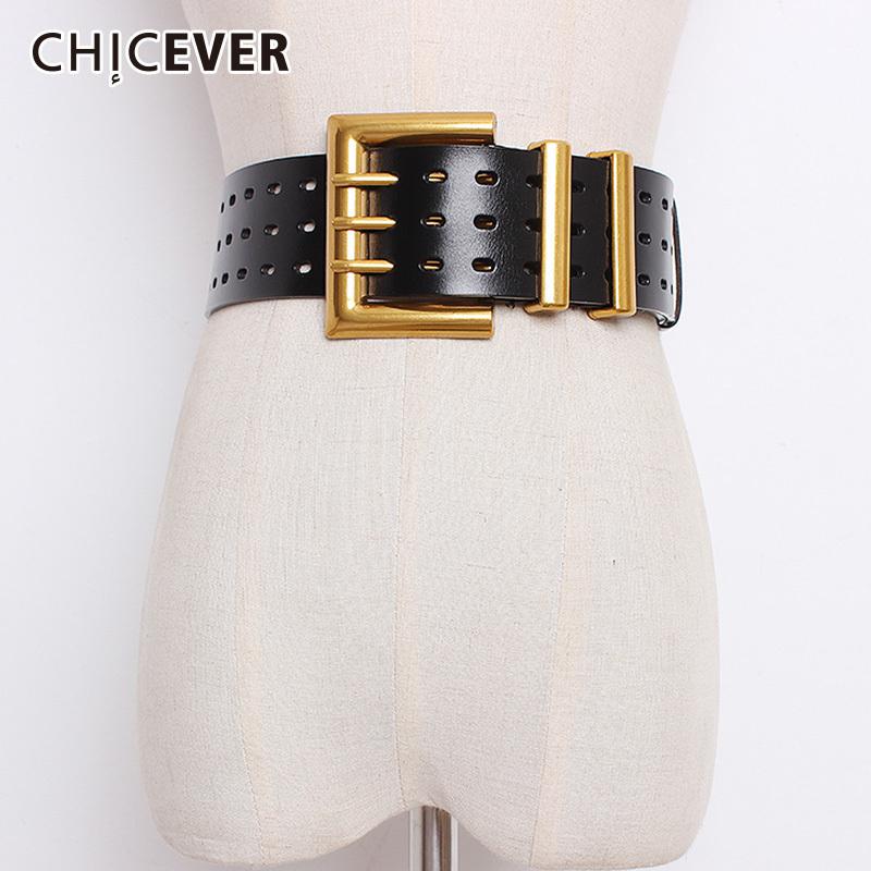 Hot Women Waist Belt Large Gold Metal Ring Fringe Pu Leather Belt Hoop Black DQ
