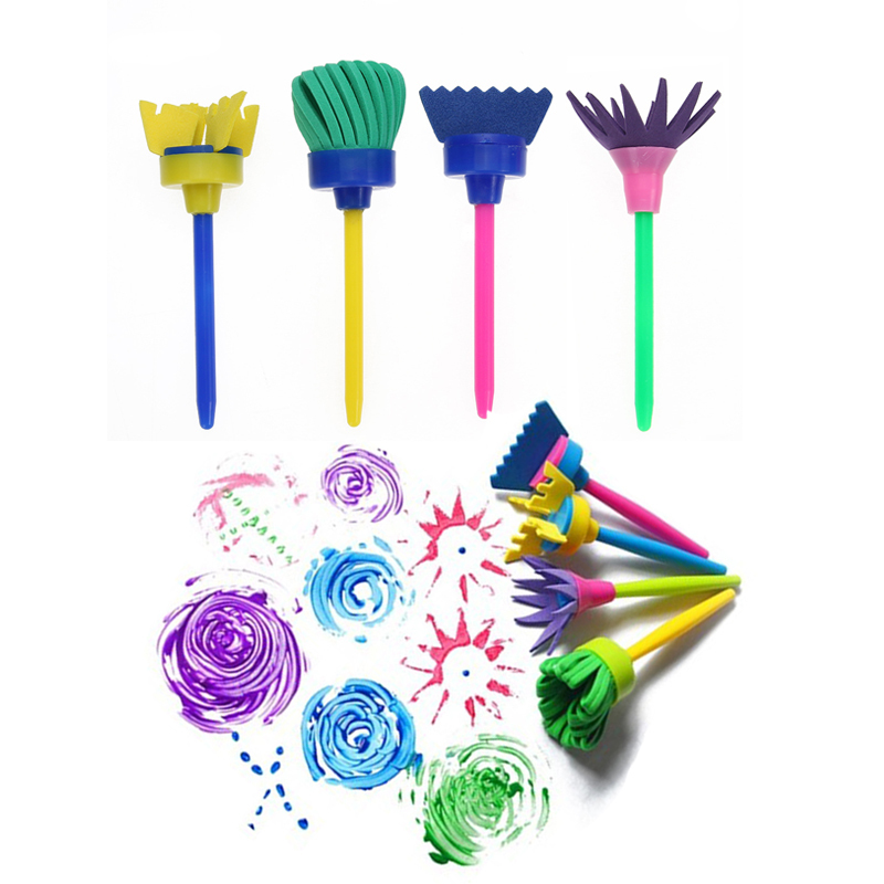 Rotate Spin Paint Drawing Sponge Brushes Kids Diy Flower Sponge Art Graffiti Brushes Painting Tool Educational Toy