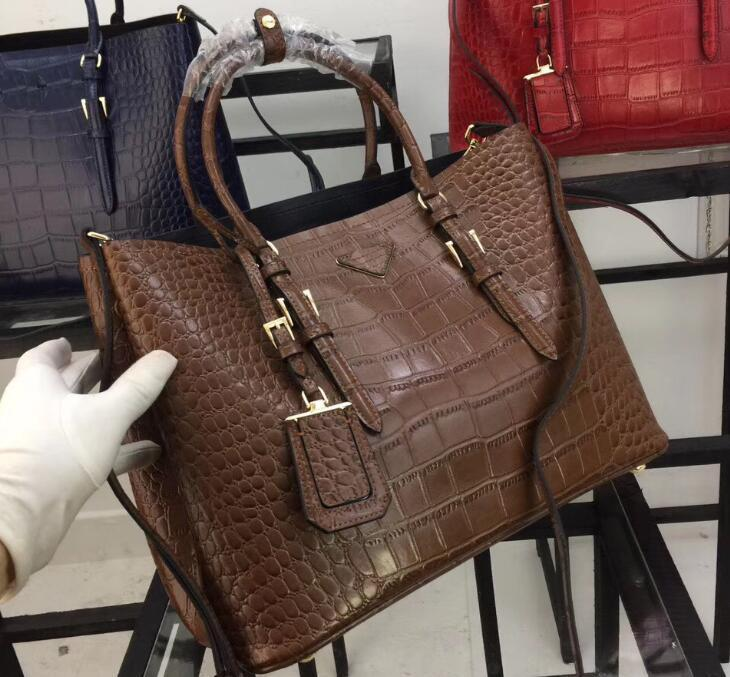 1bg820 36cm Double Handles Alligator Leather Totes Bags,crocodile Pattern Handbags,1 Inside Flap Pocket,nappa Lining With Dust Bag