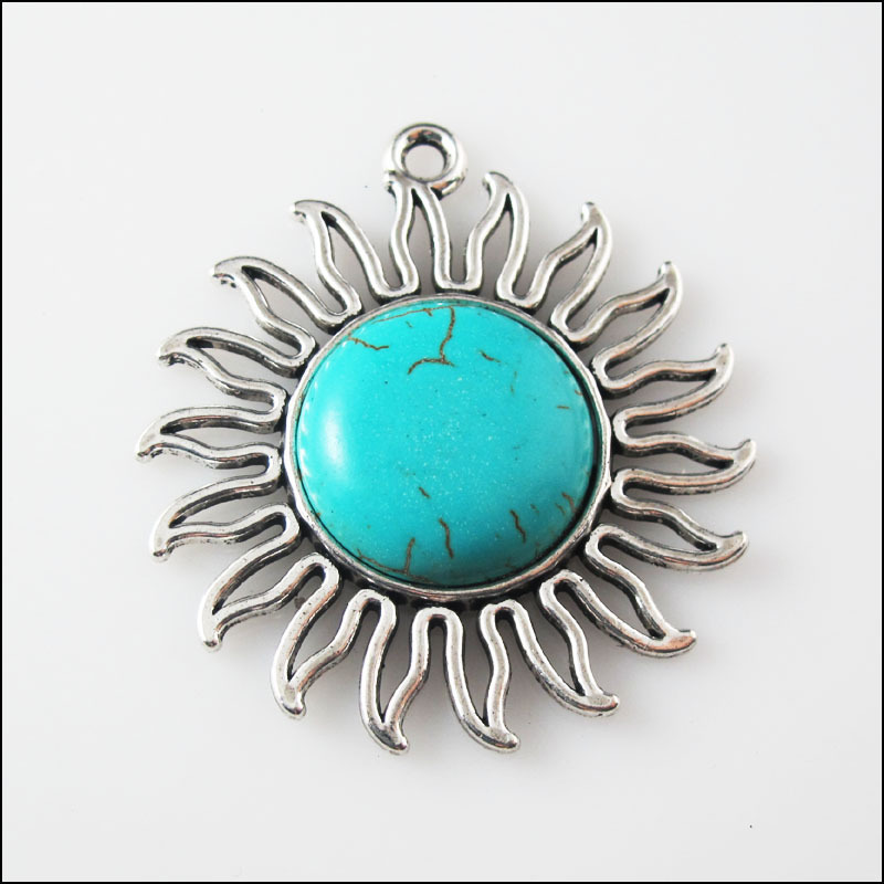 1Pc Retro Tibetan Silver Turquoise Round Charms Pendants Connectors 31mm