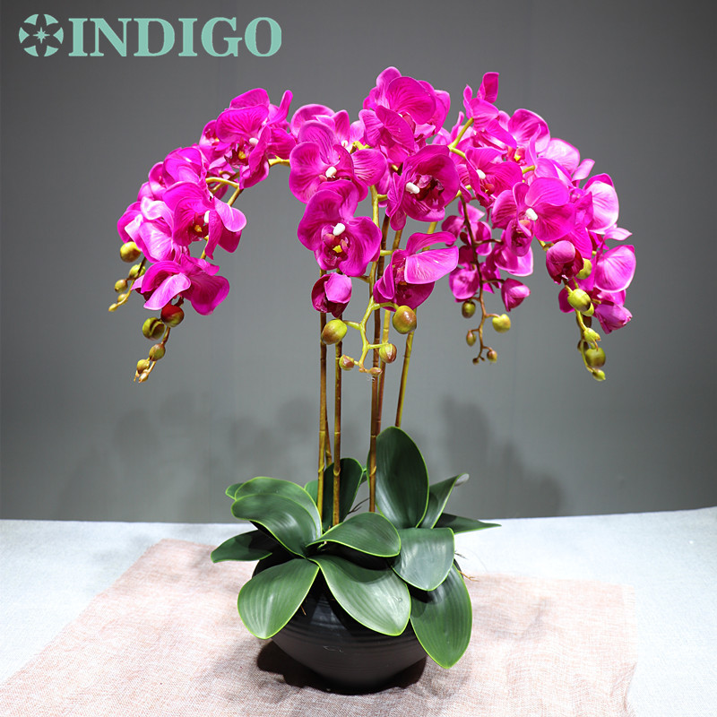 Flower Arrangment Orchids With Leaves Real Touch Flower Table Wedding Party Fake Flower Decorative Event J190710