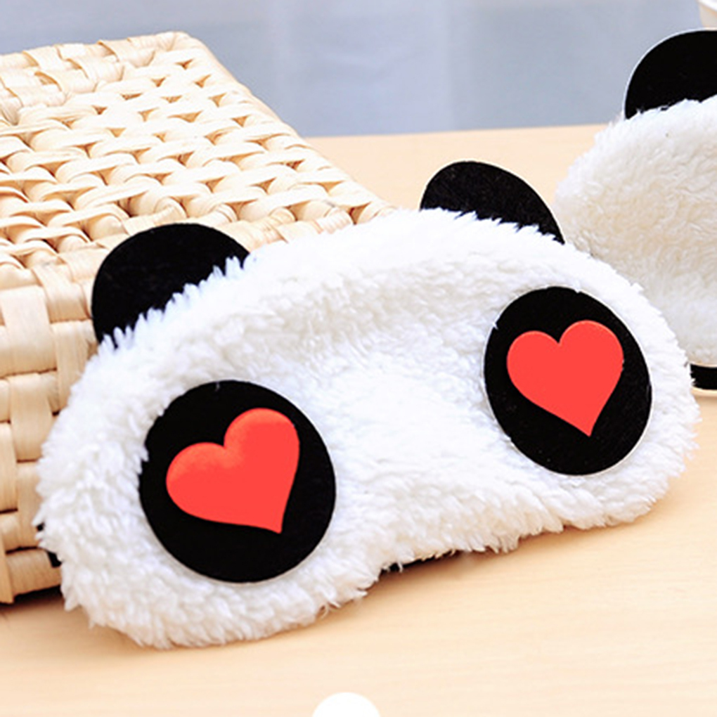 1x Panda Face Eye Travel Sleeping Mask Blindfold Christmas Gift White+Black