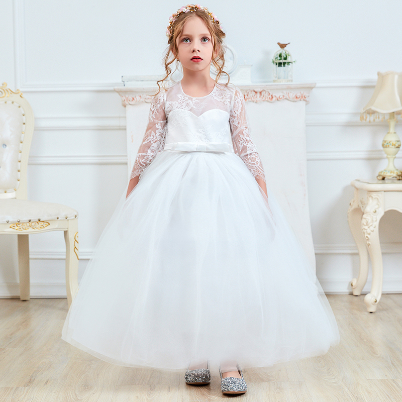UK Toddler Kid Baby Girls Bow Pageant Party Princess Formal Bridesmaid Dress ere