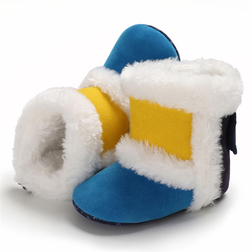 1 Pair Baby Girl Boots Baby Girl Splicing Soft Sole Snow Boots Soft Crib Warm Shoes Toddler winter Boots bota infantil D10 (9)