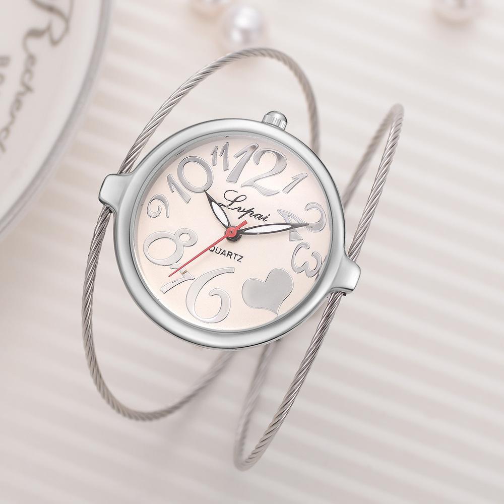 Ma'am bracelet surface fil dessin bracelet bracelet exquis va horloge cadran montre à quartz