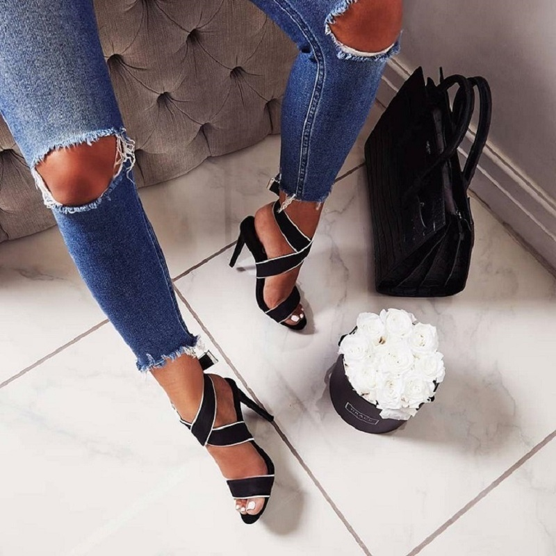 Summer Gladiator Sandals Women High Heels Open Toe Ladies Shoes Black Red Cross Strappy Stiletto Sandals Zapatos Mujer Sandalias