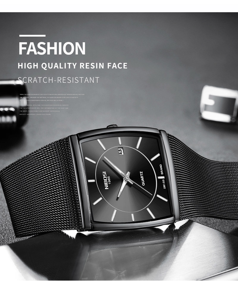 Factory Direct Sales Luxury Luminous Men`s Waterproof Watch NIBOSI Quartz European Style Unique New Square Stainless Steel Watch (5)