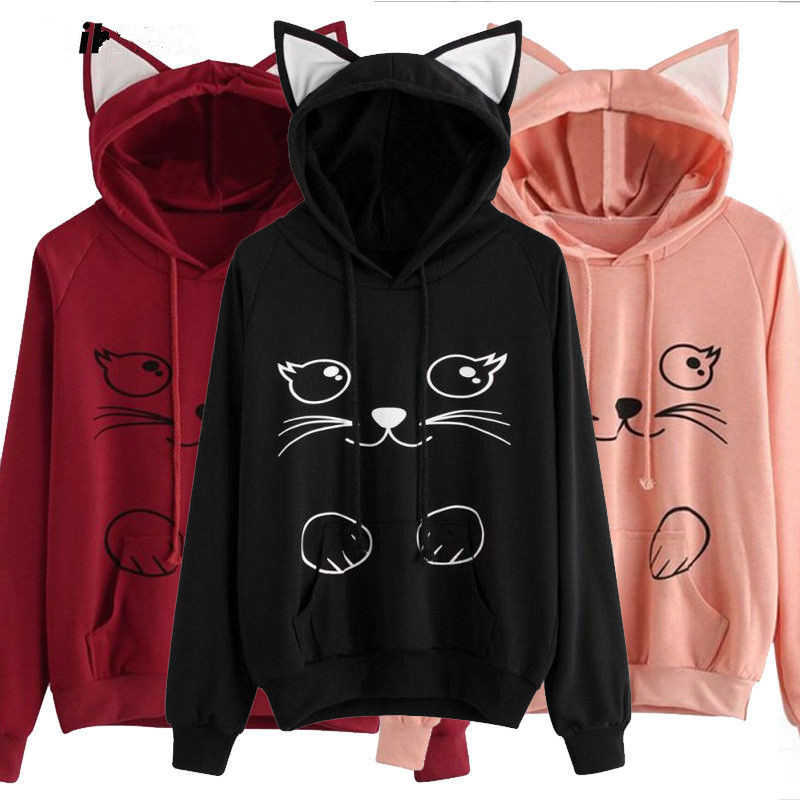 Animal Hoodies for Unisex Cat Paint Print Casual Kawaii Sweatshirts 3D Pullover