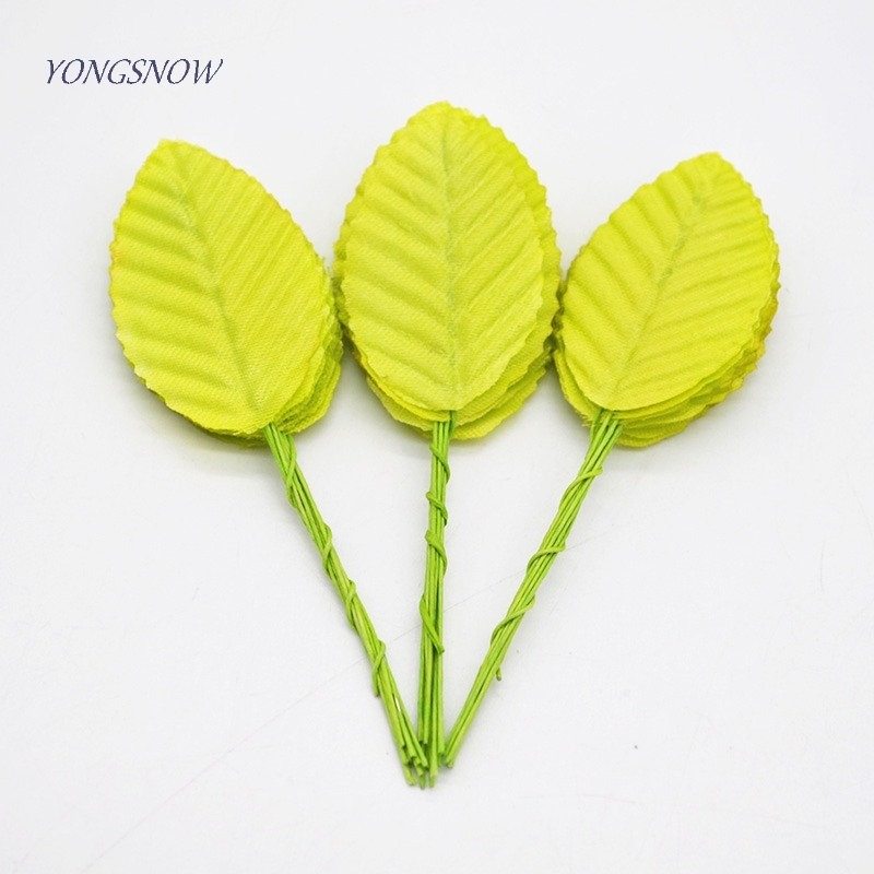 30pcs 14 Colors Artificial Flower Nylon Silk Leaf Scrapbooking Flower Leaves For Wedding Decoration DIY Wreath Gift Craft Supply