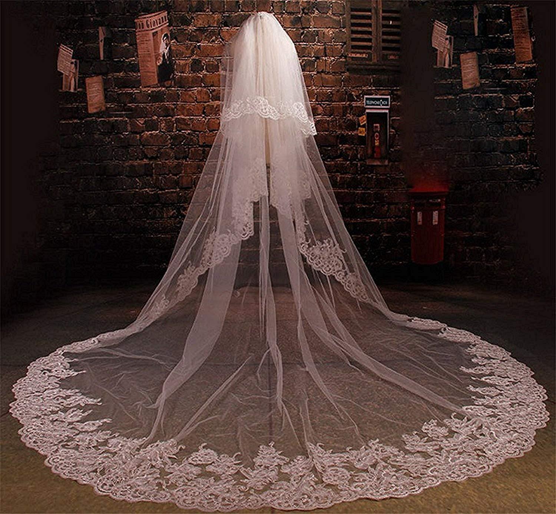 Portsvy 3M White Wedding Veils Bridal Veils Lace Edge Meter Long Free Comb