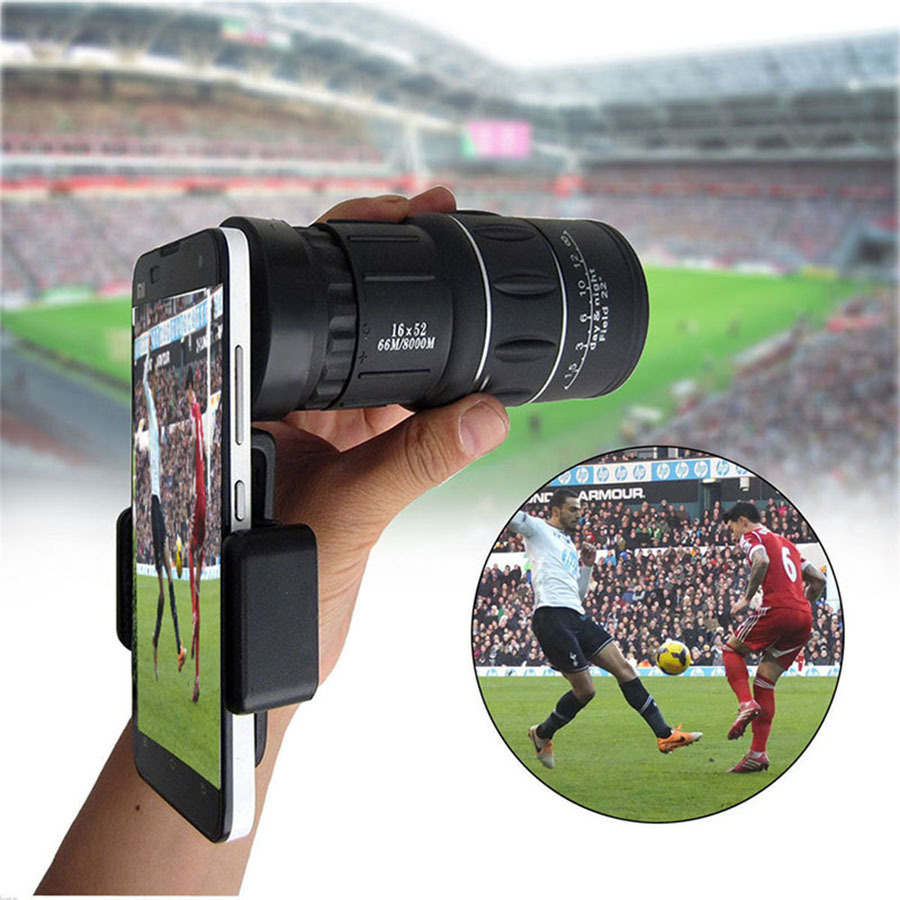 16X52 Dual Focus Telescope Lens HD Zoom Optical Telephoto Lens Universal for Smartphones Outdoor Camping Fishing With Tripod (6)