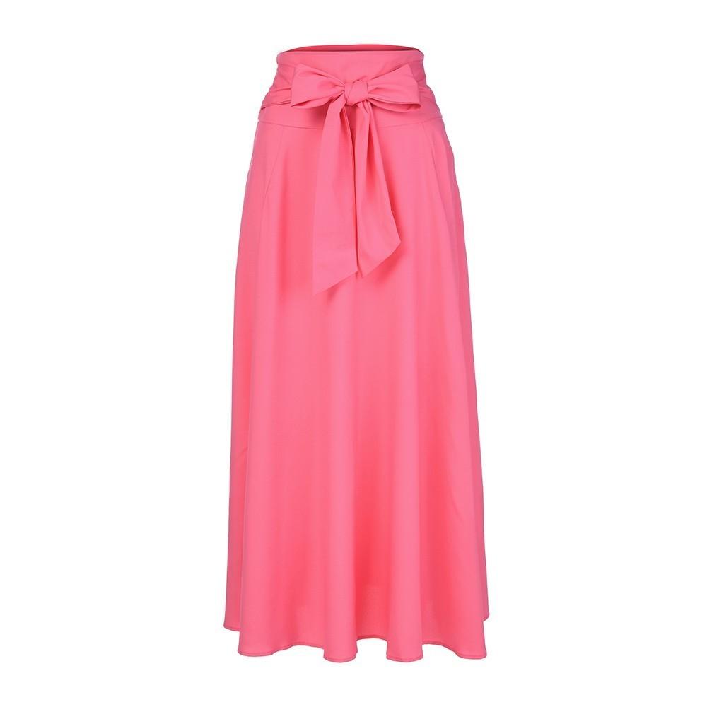 Women High Waist Pleated A Line Long Skirt Front Slit Belted Maxi Skirt Autumn Winter A-line Skirts T3190605