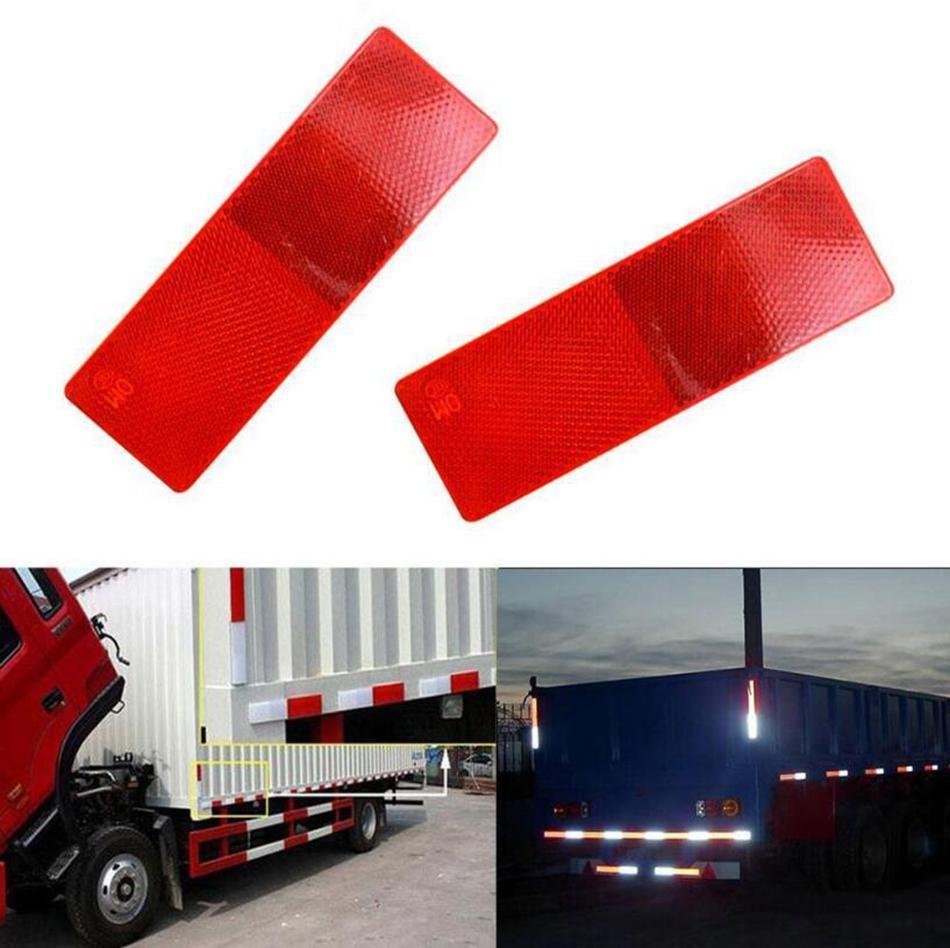4 x Rectangle RED Reflectors trailer camper lorry van