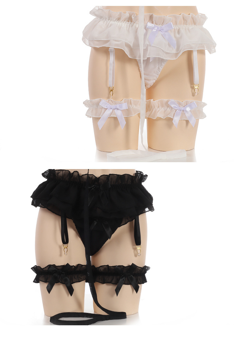 Japonais Sexy bague en mousseline de soie dentelle princesse lingerie ensemble sous-vêtements flirt Kawaii Anime Cosplay vêtements de nuit soutien-gorge jambe jambe Y190601