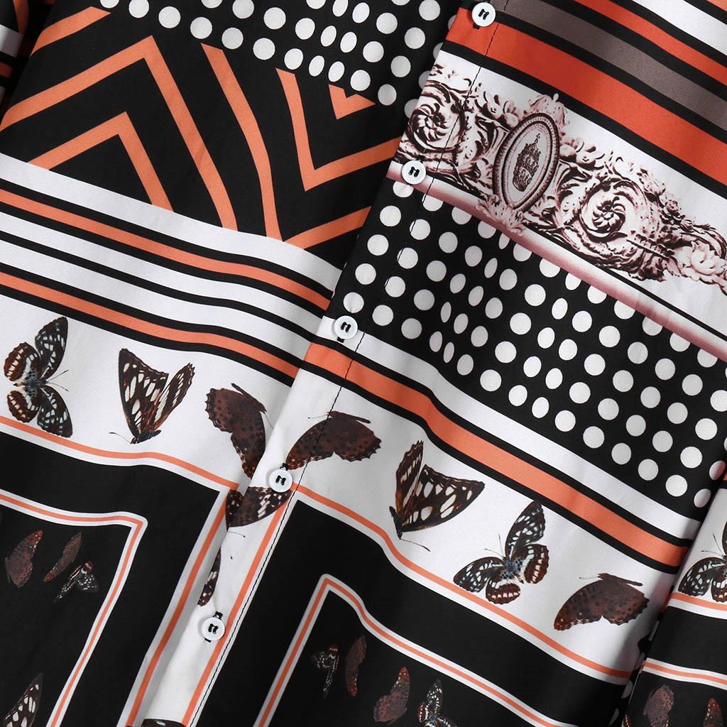 2019 Новая мода мужская с длинным рукавом в горошек Полосатый печати Vintage Fashion Casual Cotton Shirt Камиза masculina Осень A30