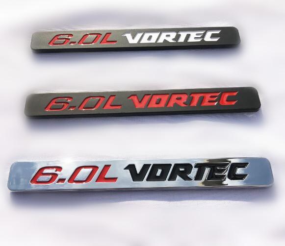 PAIR SET VORTEC 6.0L EMBLEMS 3D LETTER BADGE NAMEPLATE FITS FOR SILVERADO SIERRA GM Red Black