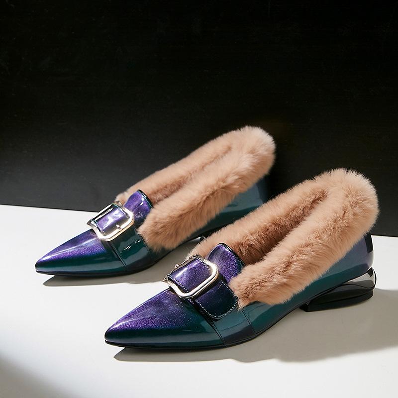 Sexy2019 anos 19 temporada com cinto de fivela afiada cabelo de coelho sapatos de couro genuíno das mulheres baixa ajuda único sapato