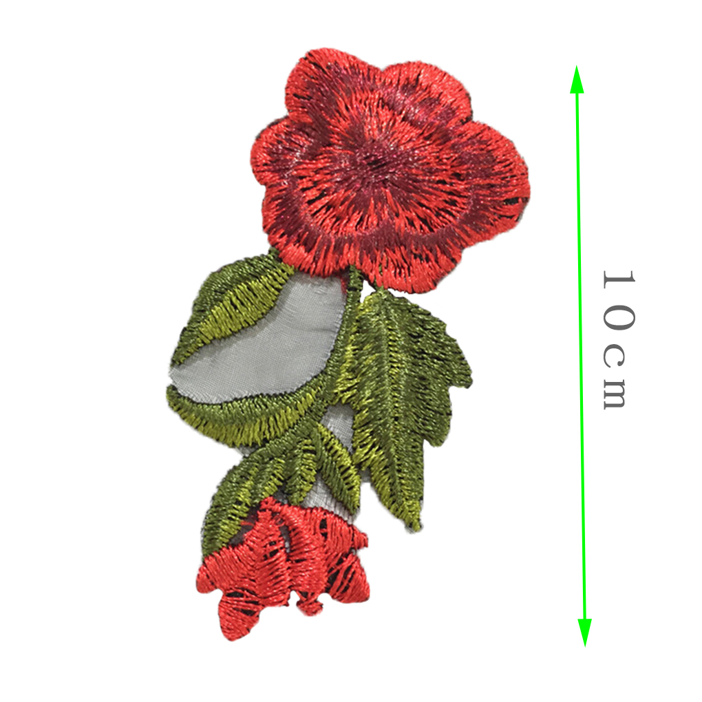 iron-on 10cm width gold silver or red Embroidered sequin flower applique patch