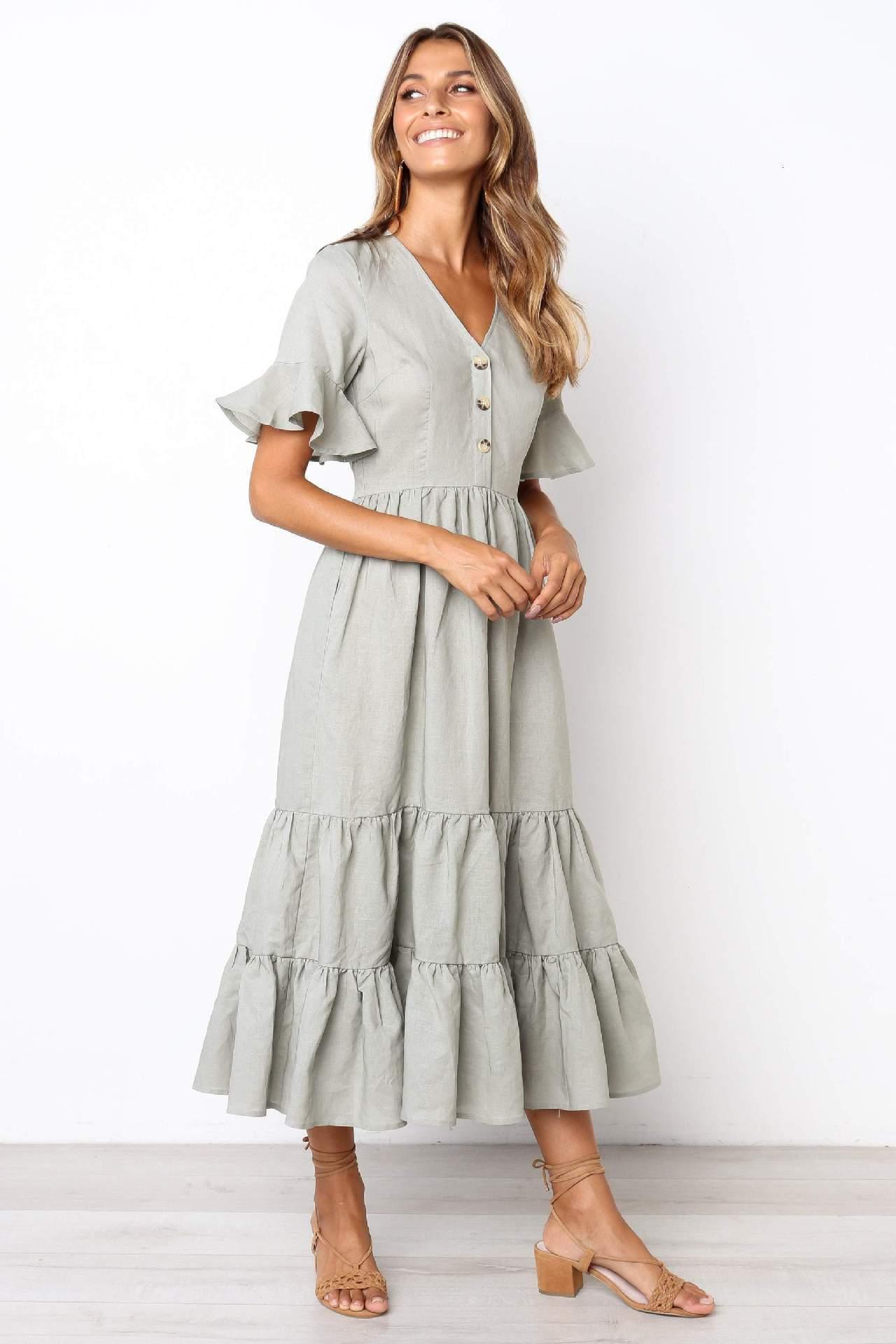 2019 Nagelknopf Sexy V Blei Einfarbig Frauen Kleid Mode Kleidung Damen Kleider Frau