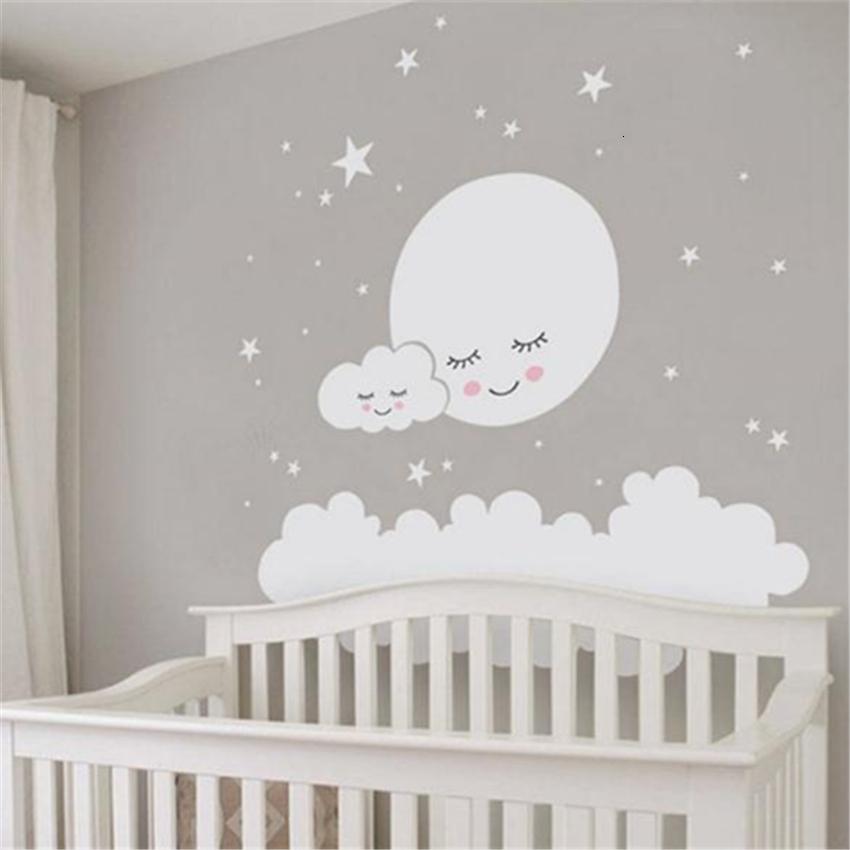 Luna llena con nubes estrellas tatuajes de pared para ni/ños habitaciones de guarder/ía pegatinas de pared extra/íbles de vinilo para beb/és sala de ni/ños decoraci/ón de la pared