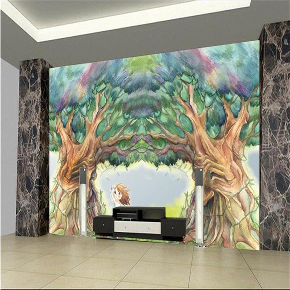 Bande Papier Peint Salon taille personnalisée 3d photo papier peint salon murale rêve arbre de bande  dessinée peinture à l'huile photo canapé tv toile de fond papier peint