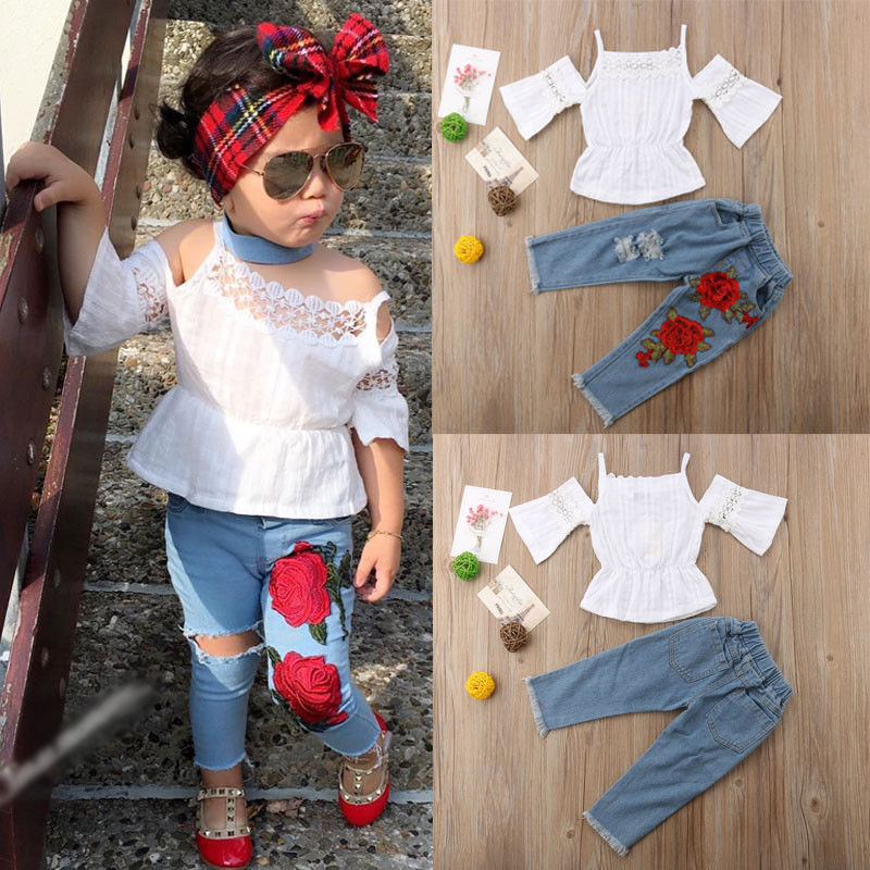 Fashion Girls Clothing Set 2019 Summer Baby Girls Clothes Off Shoulder Top+Denim Floral Pant Children Clothing Dropshipping