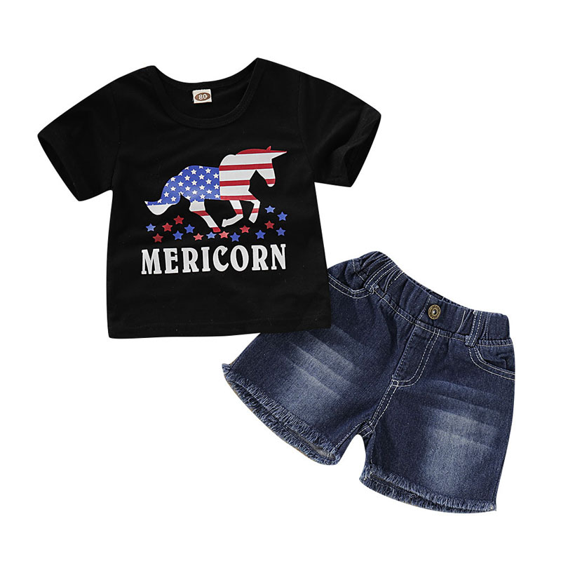 4th of July Infant Toddler Baby Girl USA Flag T-Shirt Tops Hole Denim Shorts Set Independence Day Clothes