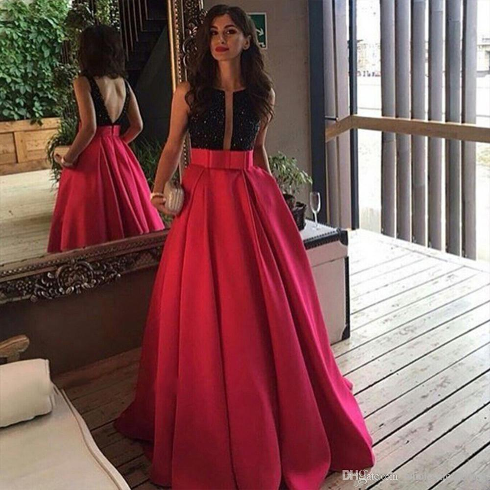 2017 Elegant Long A Line Evening Dresses Plunging Neckline Black Sequined Fuchsia Satin Occasion Gowns with Pockets Prom Party Gowns Backles
