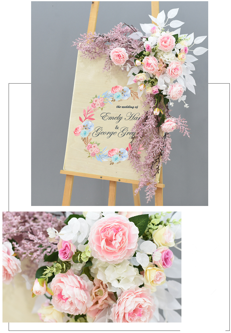 JAROWN Wedding Flower Row Welcome Sign Simulation Floral Hotel Creative Guide Decorations Photography Props Home Door Flower (21)