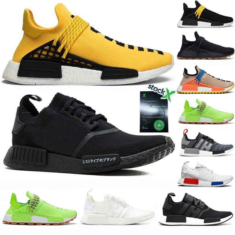 With Stock X 2020 Human Race NMD R1 Hu Pharrell Williams Yellow Solar Pack Red Mother Oreo Japan Mens Trainers Womens Running Shoes
