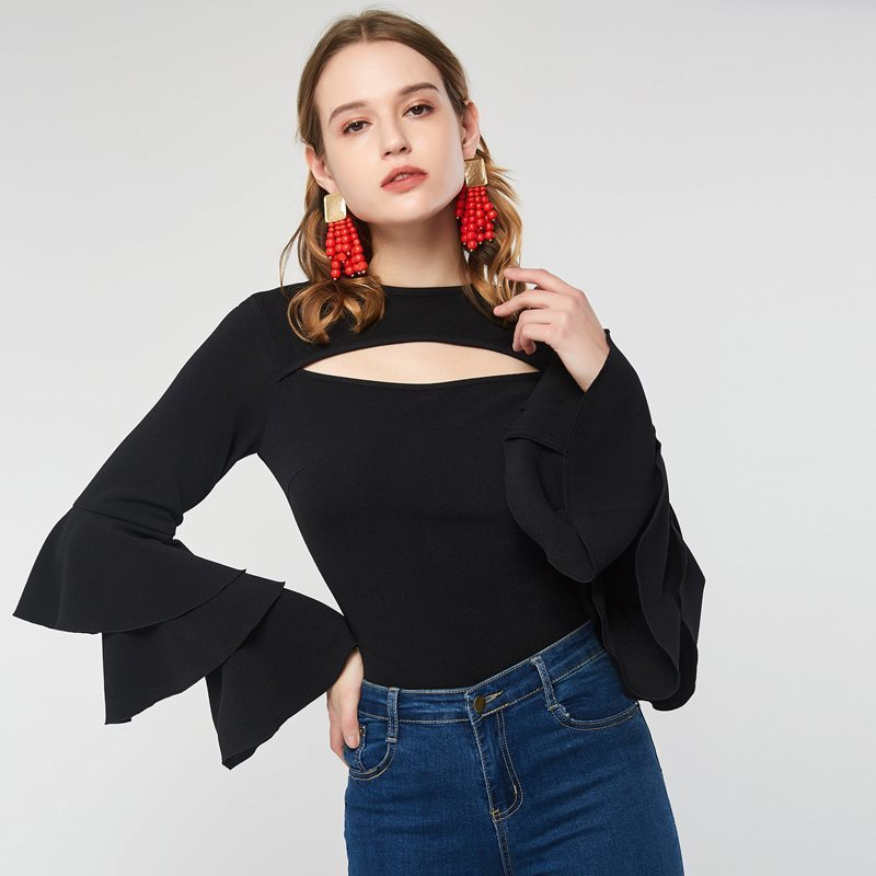 Women Spring Ruffle Black T Shirt Top Falbala Hollow Out Sexy Club Date Sweet Girl Office Lady Tee Shirts Tops C19041501