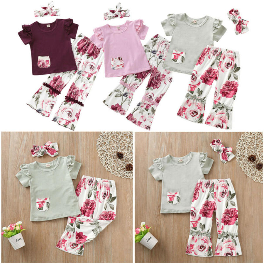 Hipster Baby Girl 3PCS Costumes Long Sleeve Cactus Print Tops+Pants Clothes Outfits Set