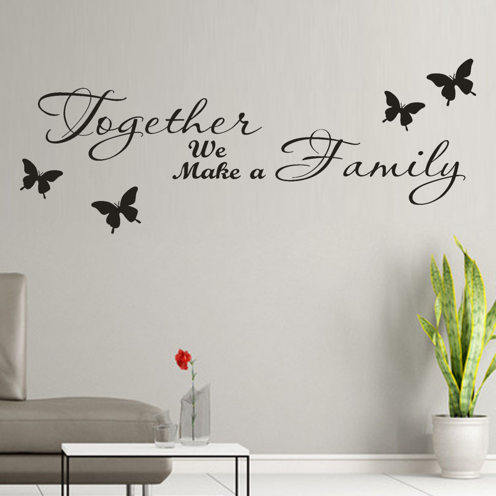 65cm x25cm Beauty Stickers On Walls Together We Make a Family Removable Art Vinyl Mural Home Room Decor Kids Rooms Wall Sticker